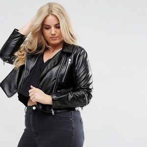 Missguided Plus Cropped Leather Biker Jacket